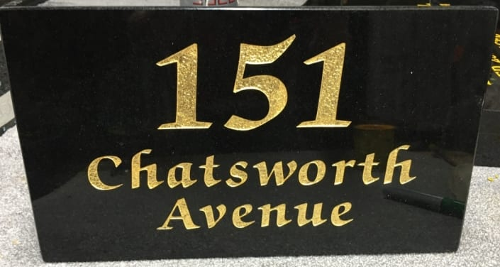 151 house plaque with gold lettering