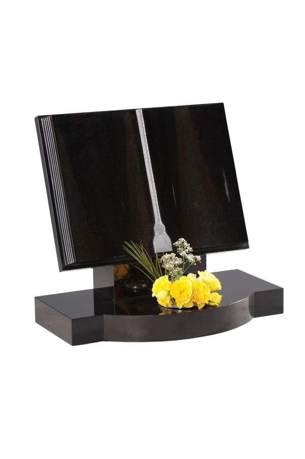 Dense Black Granite Bookset Memorial - EC132
