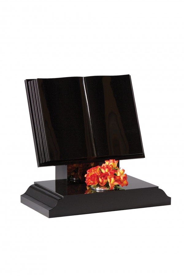 Dense Black Granite Bookset Memorial - EC134