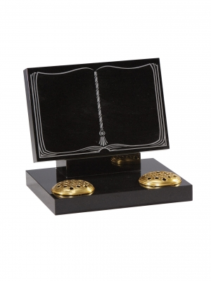 Dense Black Granite Bookset Memorial - EC135
