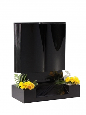 Dense Black Granite Bookset Memorial - EC136
