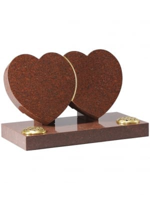 Ruby Red Granite Heart Memorial - EC152