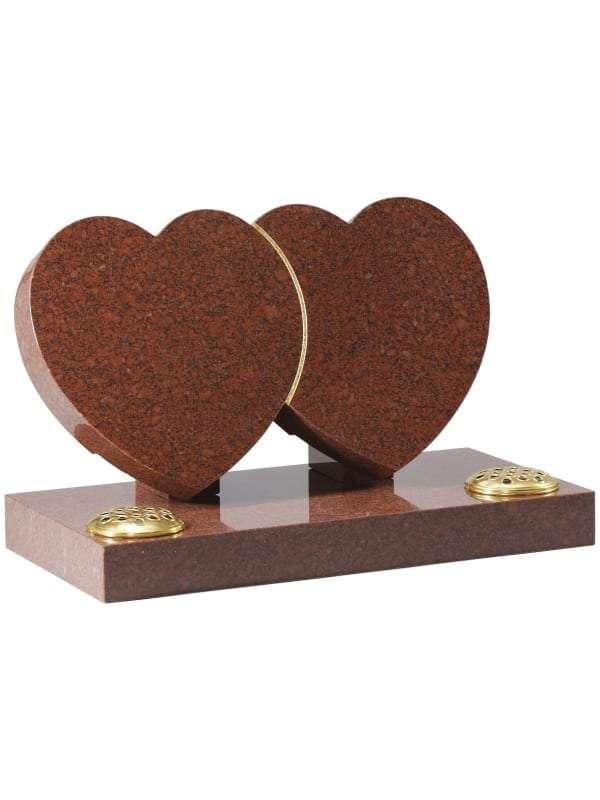 Ruby Red Granite Heart Memorial - EC152