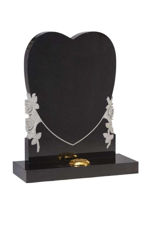 Dense Black Granite Heart Memorial - EC155