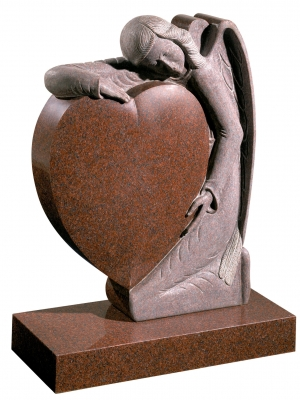 Imperial Red Granite Heart Memorial - EC157