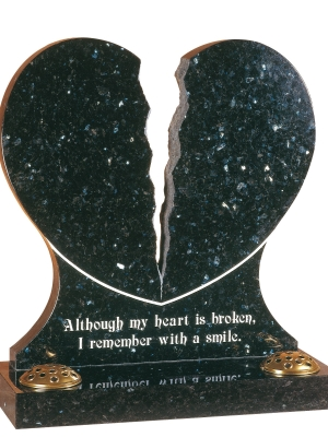 Emerald Pearl Granite Heart Memorial - EC158
