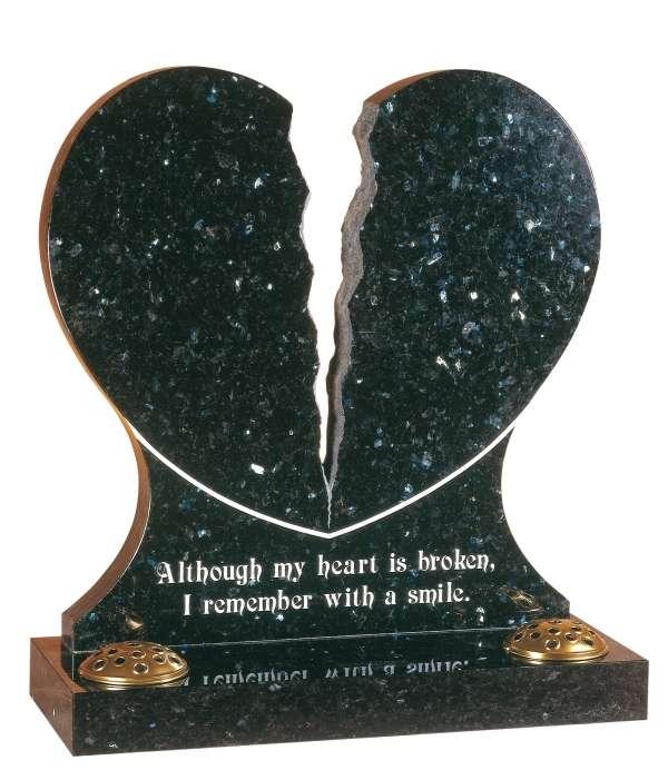 Emerald Pearl Granite Heart Memorial - EC158