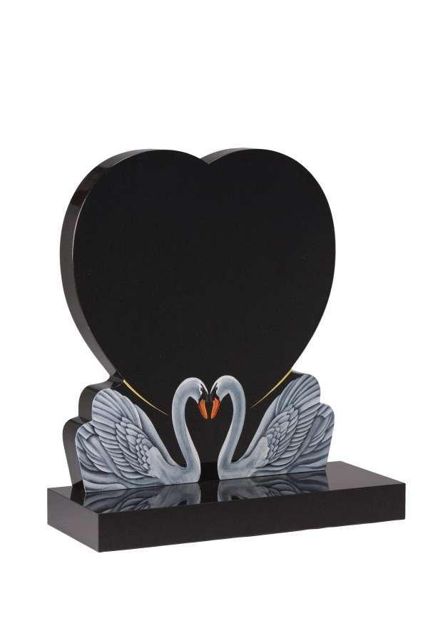 Dense Black Granite Heart Memorial - EC159