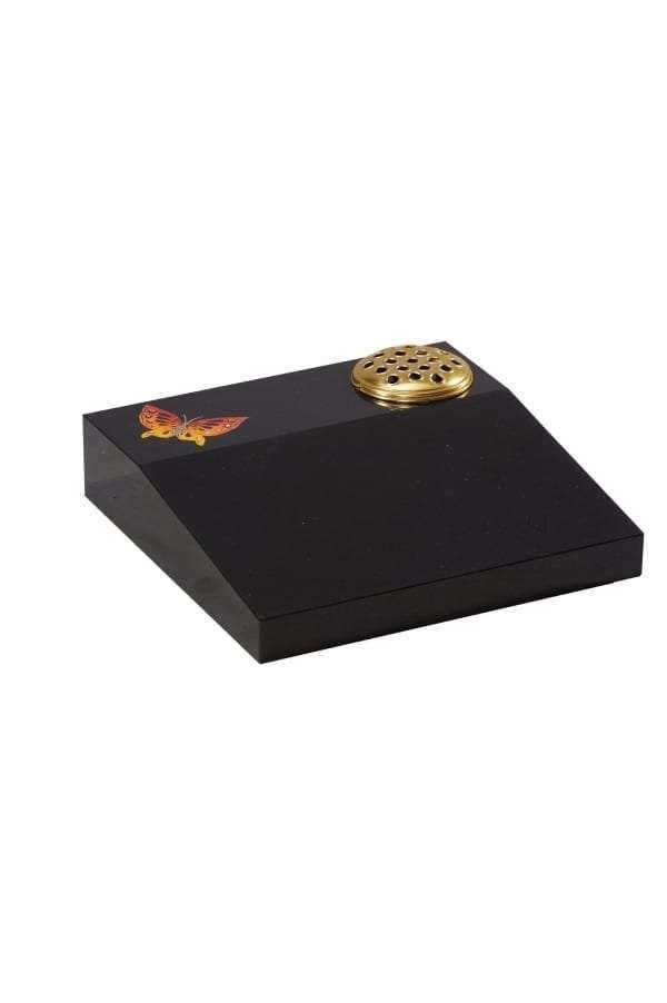 Dense Black Granite Memorial Stone - EC257