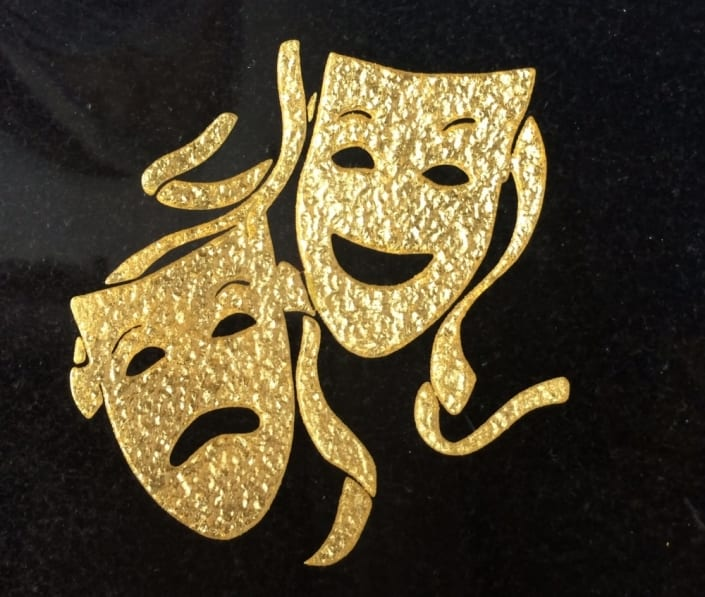 drama masks grave design