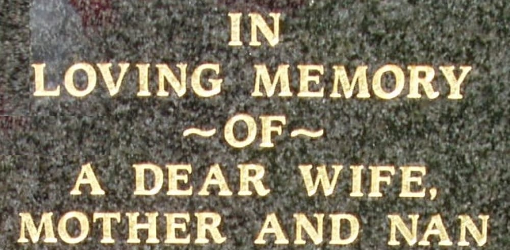 example grave gold writing