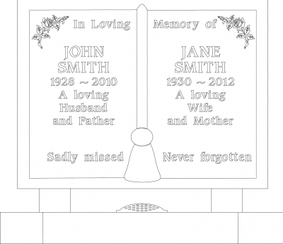 Example of words possible on a grave memorial