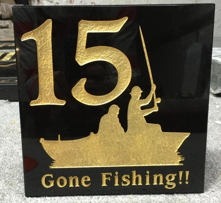 gone fishing house plaque