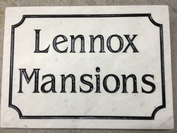 Marble house plaque for lennox mansions