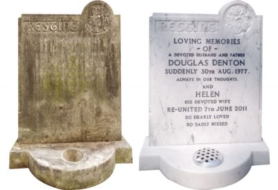 example of a gravestone before restoration and after restoration
