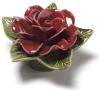 red rose ceramic flower for grave