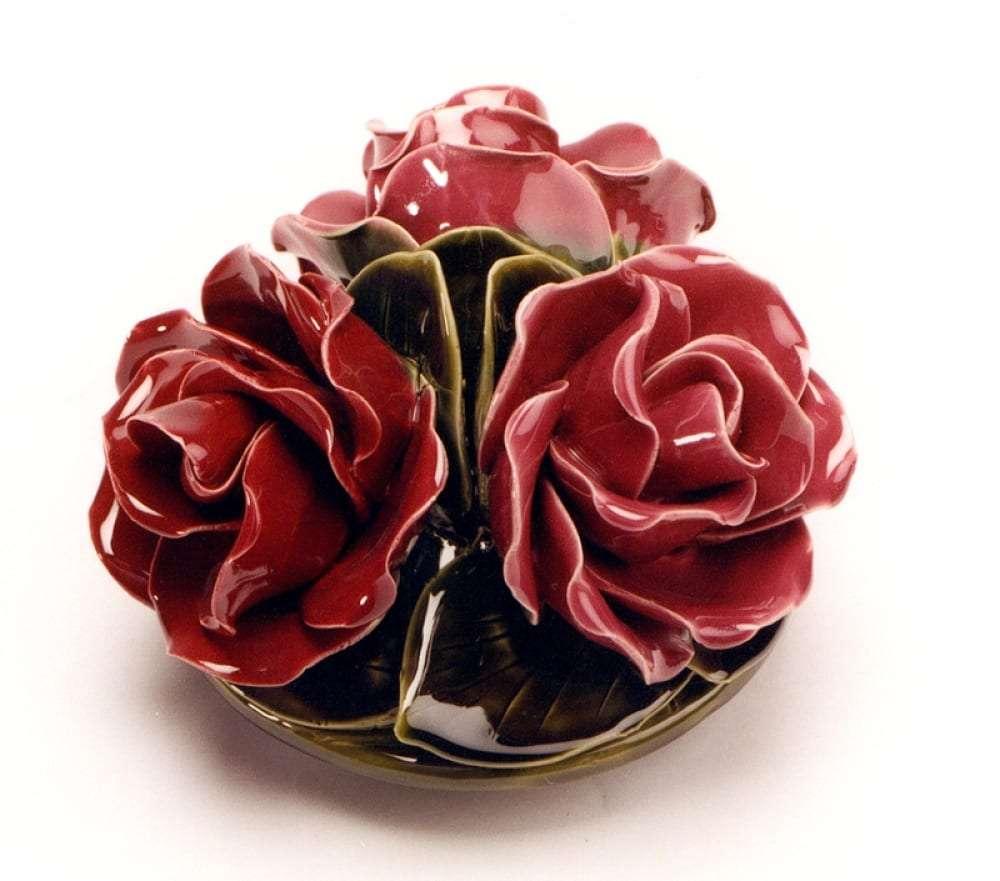 roses ceramic flower headstone