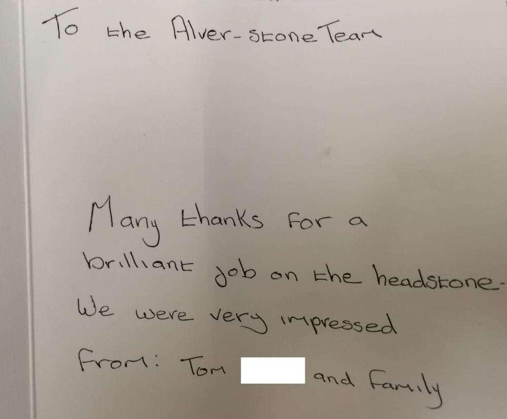 thank you card given to alver stones