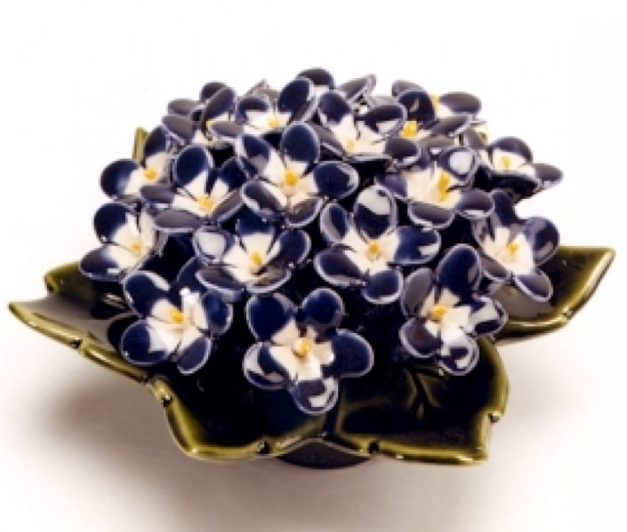 violets ceramic flower for headstone